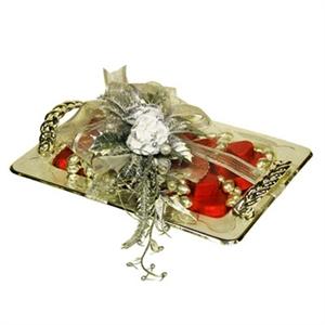 Resim Gümüş Tepsi - Söz & Nişan Çikolatası