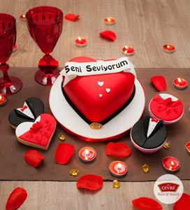 Resim Seni Seviyorum Temalı Sevgililer Günü Party seti